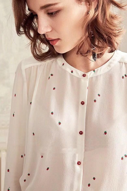 19 primavera fresa de manga larga camisa de seda sweetheart arena fresca lavar blusas de seda-in Blusas y camisas from Ropa de mujer    1