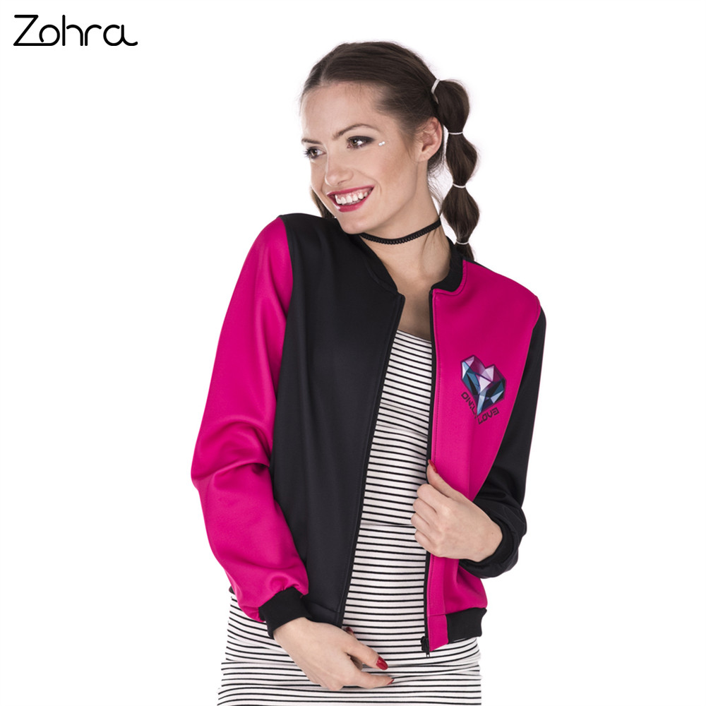 Zohra New Design Women Bomber   Jacket   Triangles Heart Printing Stitching Jaqueta Feminina Sexy Slim   Basic     Jacket   for Woman