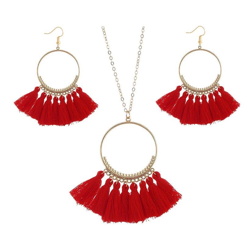 cjh024 Christmas Hoops Tassle Tassel Earrings Necklace Set Drop Fringe Necklace Set