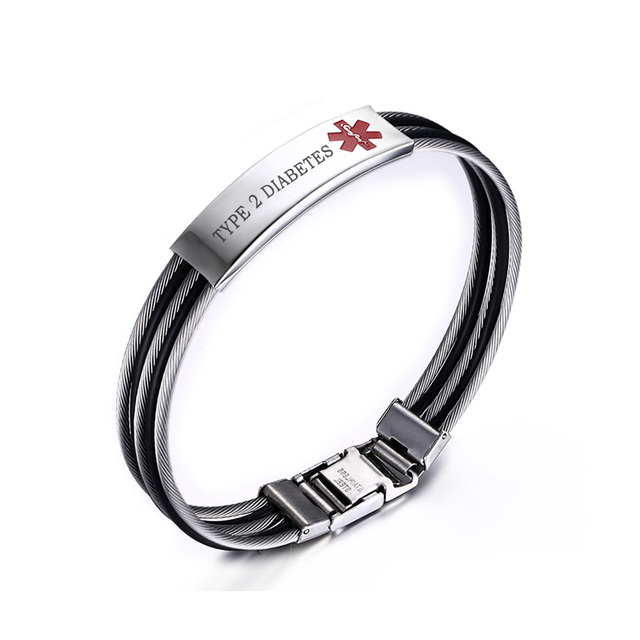 Blood Thinner Type 2 Diabetes Medical Alert Id Bracelet For Men Remind Health Love Jewelry