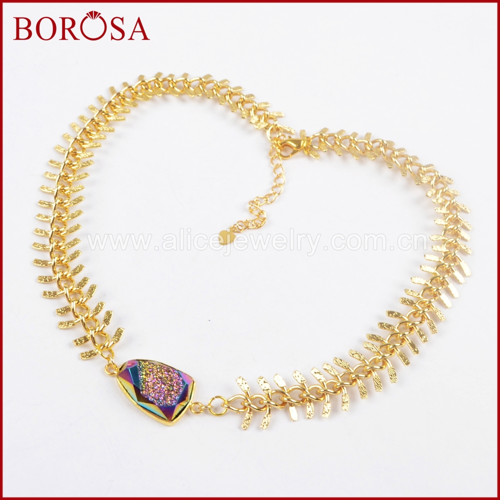 BOROSA 5pcs Gold Color Natural Crystal Titanium Rainbow Druzy Faceted Necklace Drusy Chokers Necklace for Girls Women ZG0175