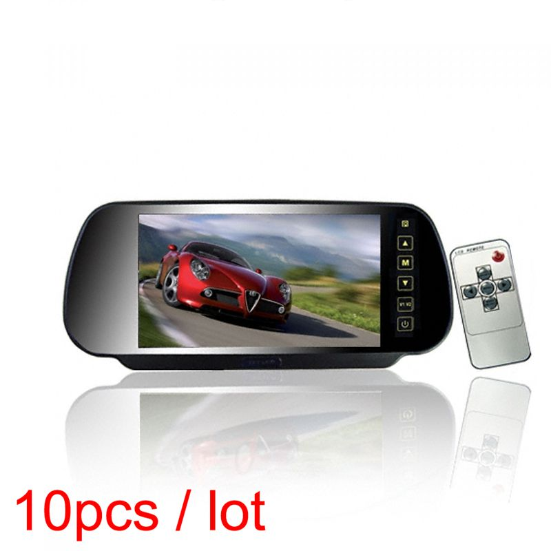 10pcs / Lot 7 inch HD LCD 800*480 On Mirror Car Auto Motor Monitor Parking Rear View LCD Screen 2 RCA Inputs Channels 12 24V
