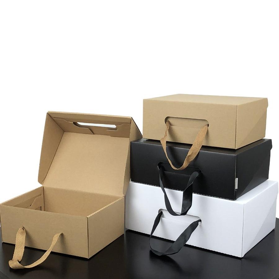 50pcs lot White Black Kraft Paper Gift Box Children s shoe box Portable Case Women men