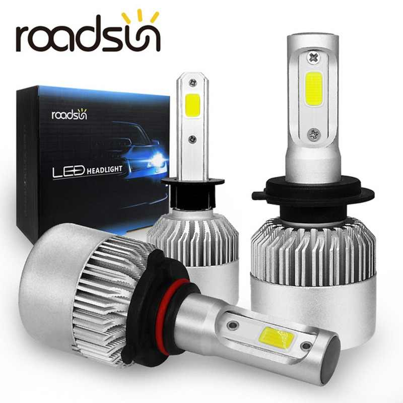 roadsun S2 H7 LED H4 H1 H8 HB4 H3 HB3 COB LED Headlight Bulbs H11 12V 9005 9006 8000LM Car Styling 6000K led automotivo