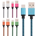 Free 100Pcs/lot 1M & 2M 8pin Aluminum Alloy Braided Fabric Usb Sync Date charger cable for iphone 5 6 6s 7 plus for ipad mini