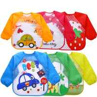 Cartoon Baby Bibs Colorful Long Sleeve Apron Waterproof Toddler Feeding Bibs Burp Cloths Children Painting Clothes Baby Bibs