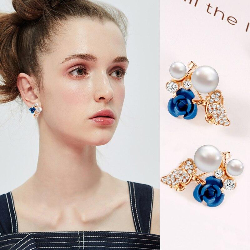 IMucci Subiu Brincos Flor Brincos Azul Vermelho Brincos de Ouro Da Moda Presente Elegante Para Mulheres e Meninas