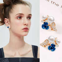 iMucci Rose Earrings Flower Earrings  Red Blue Gold Earrings Fashion Gift For Elegant Women and Girls