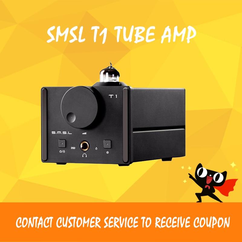 ASD SMSL T1 AK4490EQ+CM6632A DAC DSD512 Tube 384KHZ/32Bit OPTIC/Coaxial/XMOS/USB DAC Digital Tube Amp new smsl sanskrit pro b hifi digital audio bluetooth 4 0 decoder 32bit 384khz dsd usb coaxial optial dac cm6632a ak4490eq