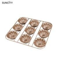 Suncity antiaderente 9 furos flower jelly pudim copa do molde fondant decoração cupcake muffin 3d latas panela pão pastelaria baking ferramenta
