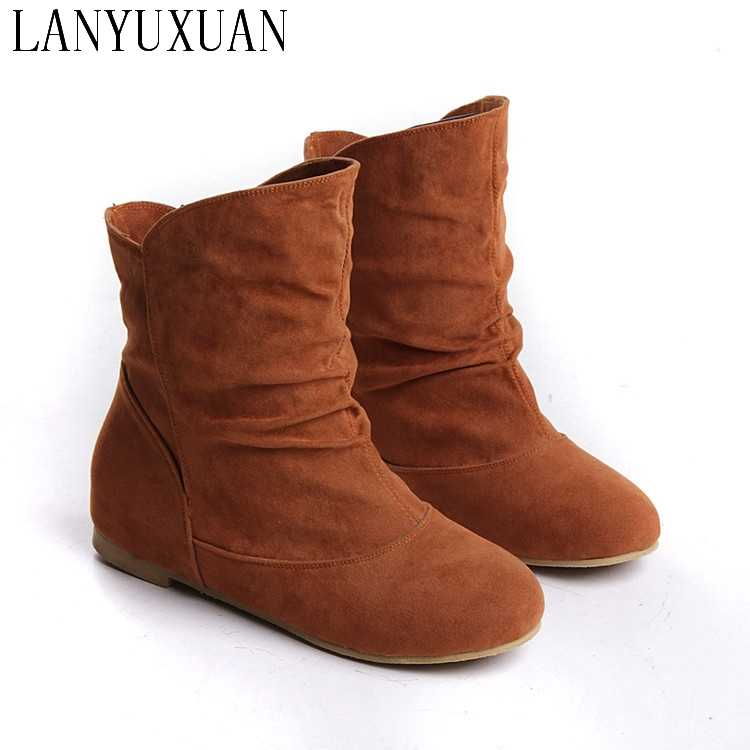 2017 Sale Adhesive Boots Botas Mujer Plus Size 33-43 New Women Faux Suede-leather Flat Heel Ankle Boots Comfort Shoes Boot A-3