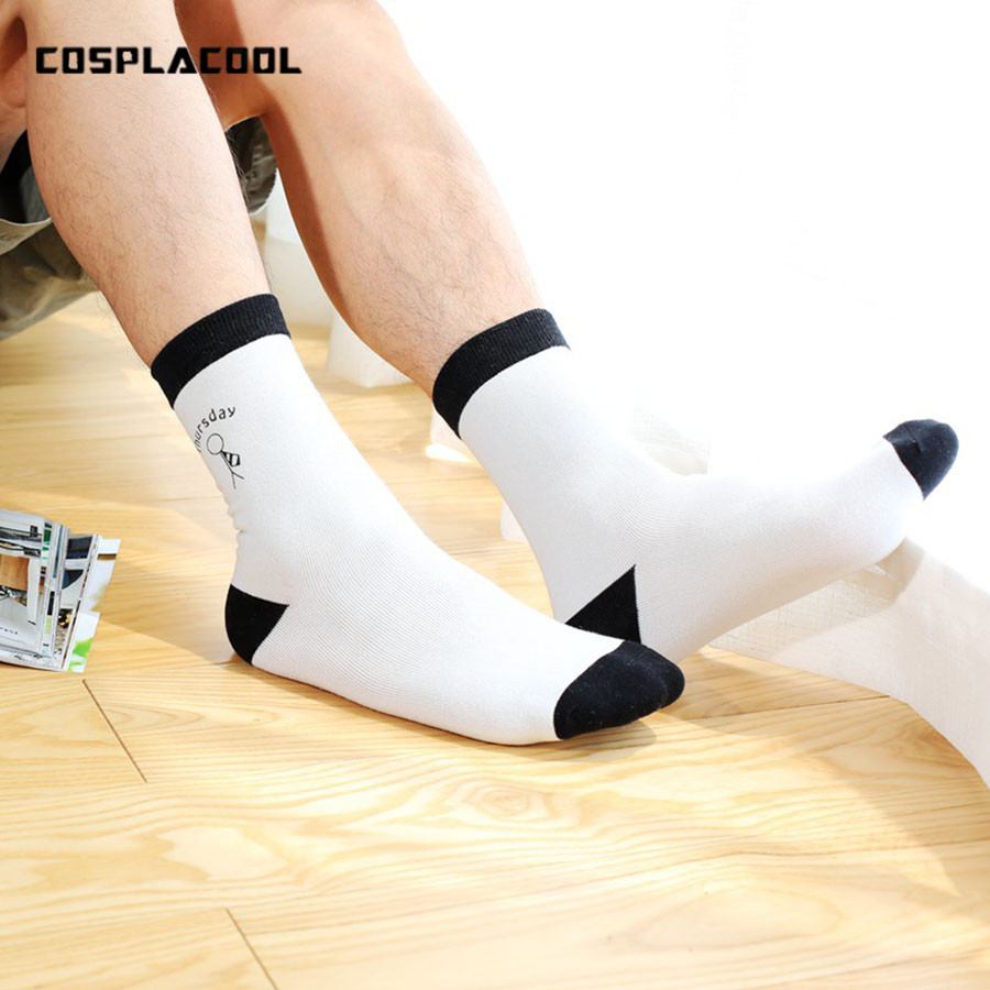 [COSPLACOOL]New Cool Monday - Friday casual men socks simple in tube socks Mens Cotton Cartoon Breathable Meias Calcetines