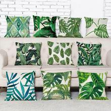 New arrival coreless Pillowcase Tropical Plants Pillowcases Green Leaves Throw Pillow 1 pcs Square 45*45cm