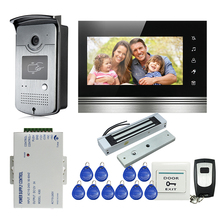 FREE SHIPPING NEW 7″ Touch Monitor Video Intercom Door Phone System Waterproof RFID Reader Door Camera + Electric Magnetic Lock