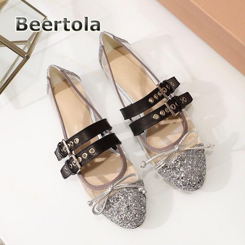 Mujer Glitter 2019 Shoes Ballerine Mocasines Patent black Leather silver Tendance Ballerines Verni Femmes Lanières Beertola Shoes En Black nude Cuir Chaussures Pvc wgSIOwAqx
