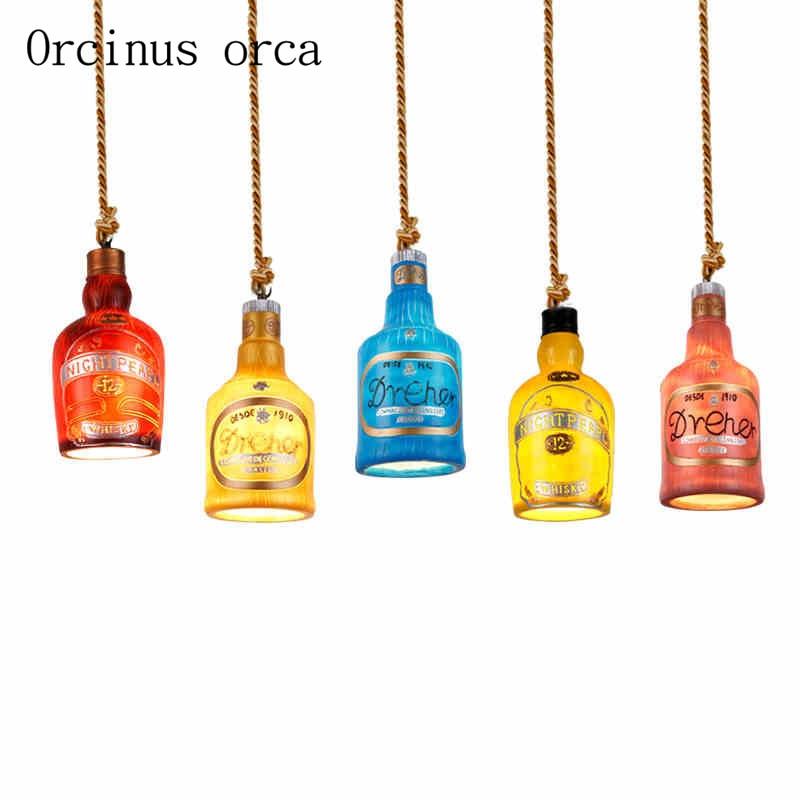 en title1:American country single head wine bottle chandelier Bar Cafe RETRO art creation color Chandelier free shipping|Pendant Lights| |  - title=