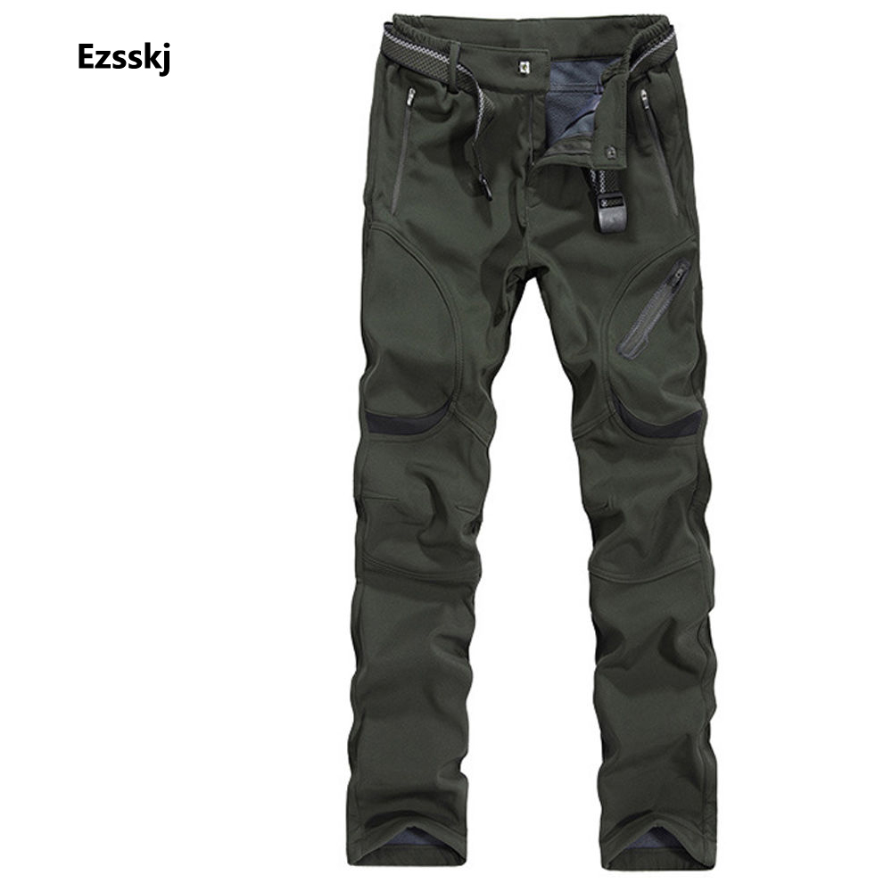 ФОТО 2017 Mens Winter Outdoor Pants Waterproof Hiking Pants Fishing Climbing Pants Workout Cargo Trousers Overalls Black Army Green