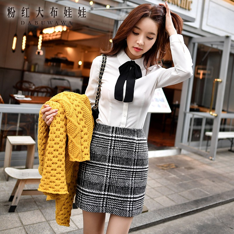 original skirt 2017 new autumn winter fashion casual temperament ladies black and white lattice plaid mini pencil skirt women dabuwawa autumn women fashion sexy plaid skirt elegant mini pleated skirt short streetwear asymmetrical skirt d17csk031 page 2