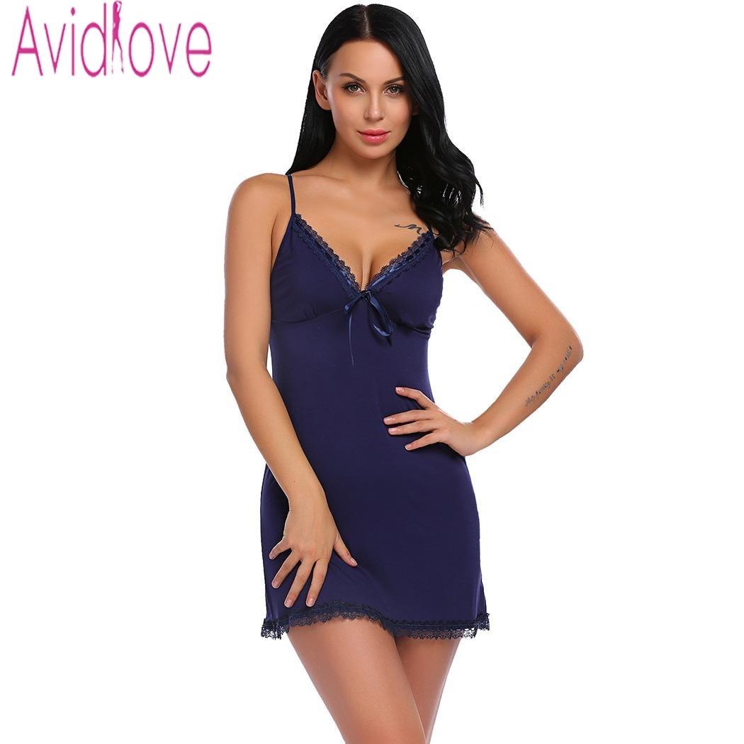 Avidlove Nightie Cotton Nightgowns Plus Size Sexy Home Wear Women's Sleepwear V-Neck Sleeveless Nightwear Female Sleep Dress 2