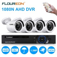 FLOUREON CCTV Security Camera system 8CH 1080N AHD DVR 4 Outdoor 2000TVL 960P 1.3MP surveillance Camera Security Kit EU