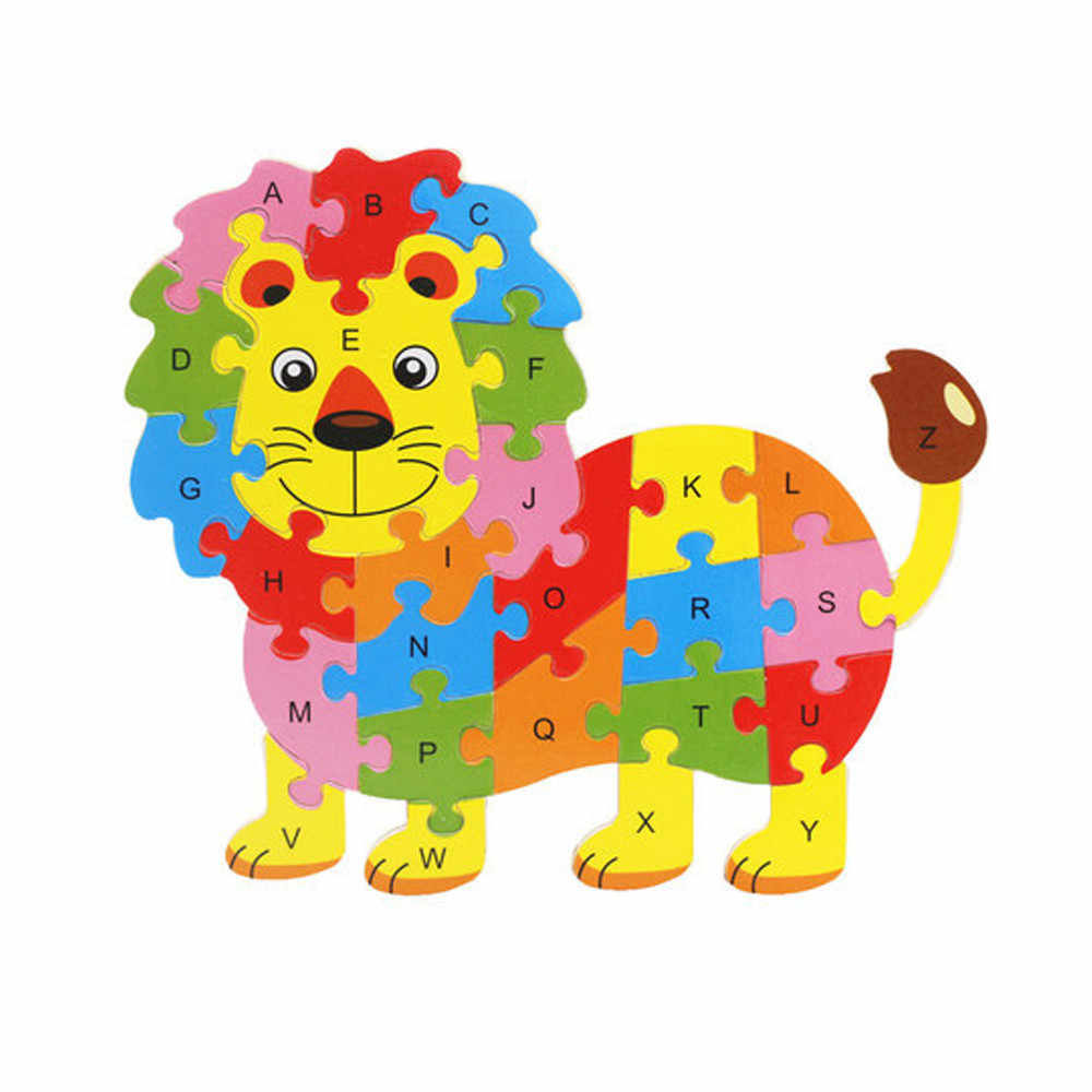 Cartoon Animal Puzzle Kids Baby Wooden Wood Animal Puzzle Numbers Alphabet Learning Educational Toy  for children