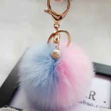 Big Sale !Faux Rabbit Fur Ball Keychain for Bag Plush Car Key Ring Car Key Pendant Amzing