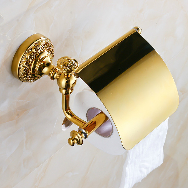 ФОТО Gold Polished Bathroom Wall Mounted Solid Brass Toilet Paper Holder