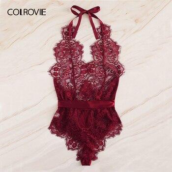 COLROVIE Burgundy Floral Lace Scallop Knot Halter Sexy Lingerie Teddy Bodysuit Women Pajamas 2019 Summer Sleepwear Nightgowns 2
