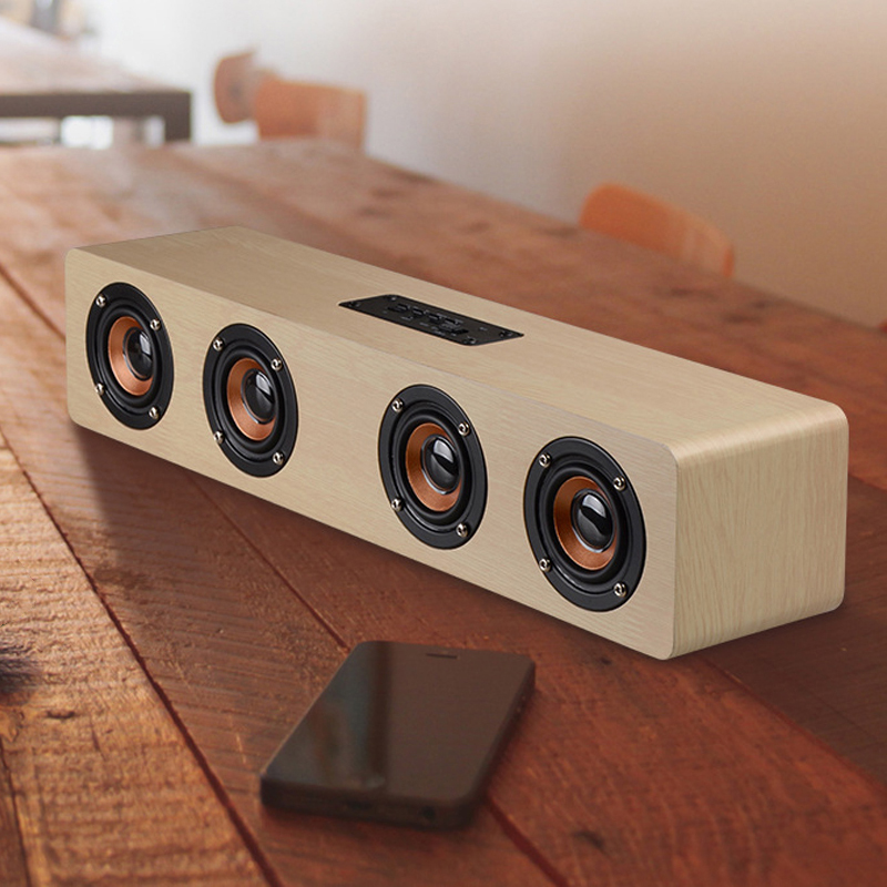Bluetooth Music Stereo Center Wooden Speaker 4 Sound Box Horn Wireless Portable Casual Travel Subwoofer MP3 Player Speaker a9 mini wireless bluetooth speaker w led hands free tf usb subwoofer loudspeakers portable 3 5mm mp3 stereo audio music player