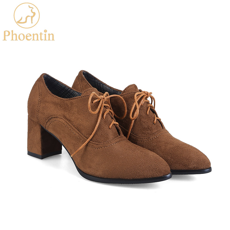 Phoentin lace up women shoes high heel 6cm square brown blue flock shoe woman heel cotton fabric inside spring autumn pump FT160Phoentin lace up women shoes high heel 6cm square brown blue flock shoe woman heel cotton fabric inside spring autumn pump FT160