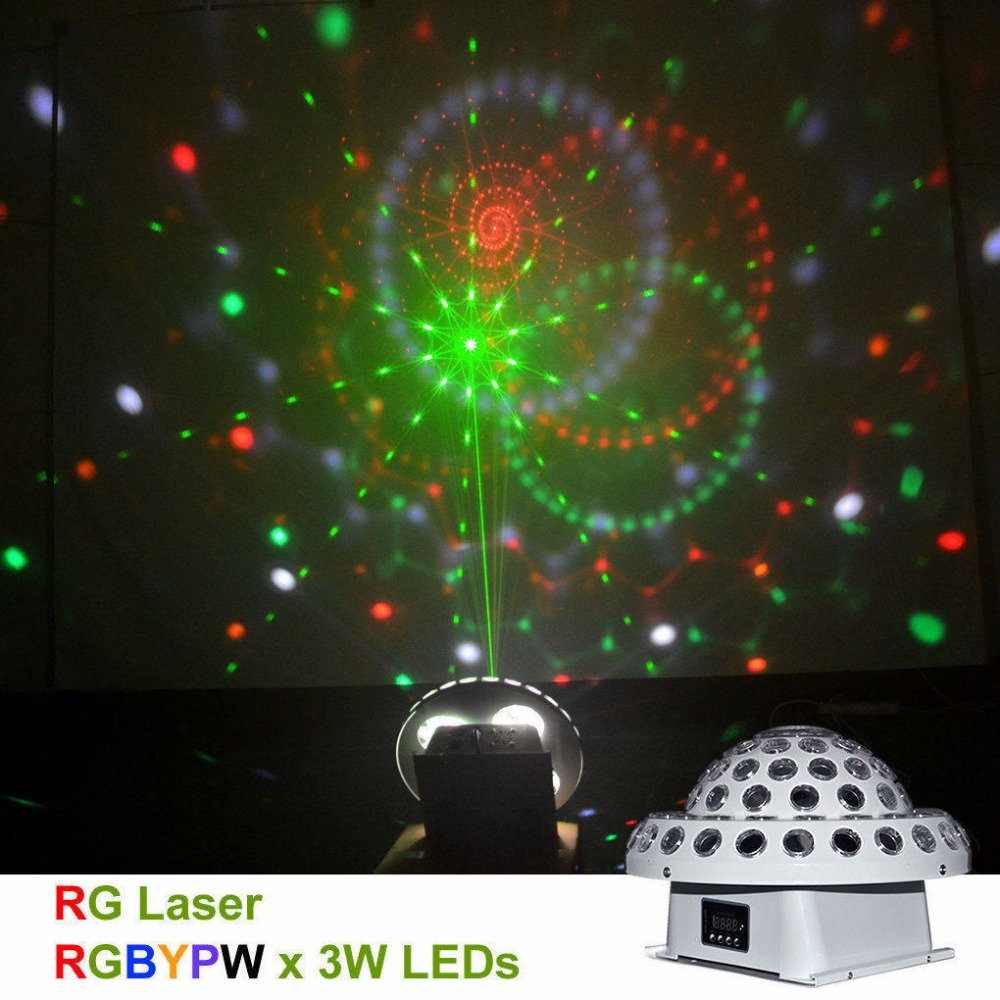 AUCD 110 220V DMX512 RG Laser Gobos Light Mixed RGBYPW LED Effect Crystal Big Magic Ball