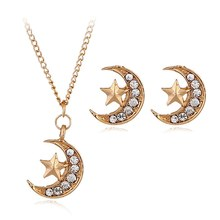 3PCS/SET Genuine Jewelry Set Moon & Star Dazzling Bridal Necklace+ Earring Jewellery Sets Sterling Jewelry(China)