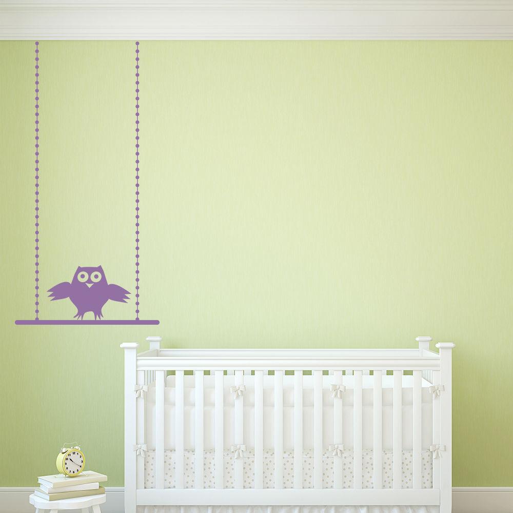 Owl Swing Vinyl Wall Stickers Decorative Nursery Wall Decal Kids ...