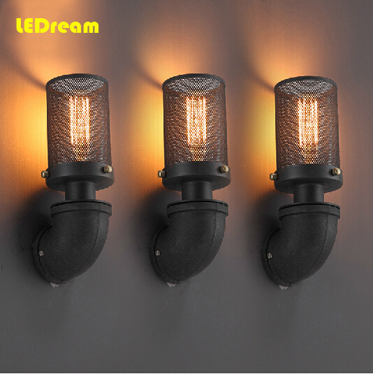 ФОТО Free Shipping All The World Classical Vintage well Lamp Warehouse Industrial Style,Metal Net,Industrial Water Pipe Wall ligh