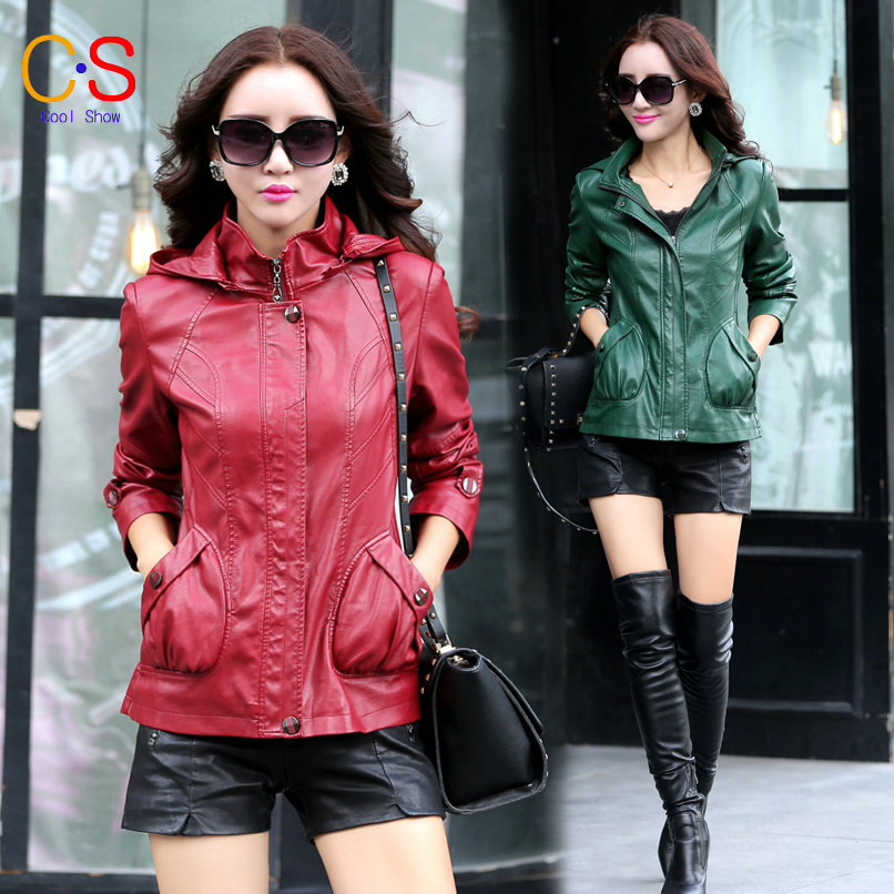 Leather Hooded Women Leather Jacket Free shipping Slim Fit Lady coat Pleated leather Coat Female clothes