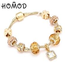 HOMOD New Design Crystal Lucky Charm Bracelets & Bangles Gold Brand for Women Jewellery Pulseira Feminina