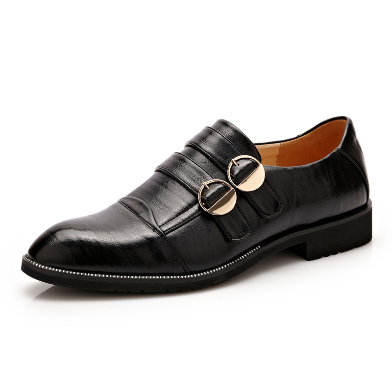 New British Style Leather Men's Formal Dress Shoes Black Business Men Oxfords High quality Buckle Strap Pointed toe Wedding Shoe 2015 new spring and autumn full for grain soft genuine leather men s british business dress pointed toe solid buckle strap shoes