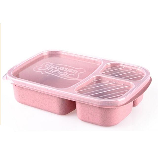 3 Lancheira Compartimento Refeição Preparação Recipiente de Alimento Caixa de Armazenamento Parte Rosa Azul Bege Verde