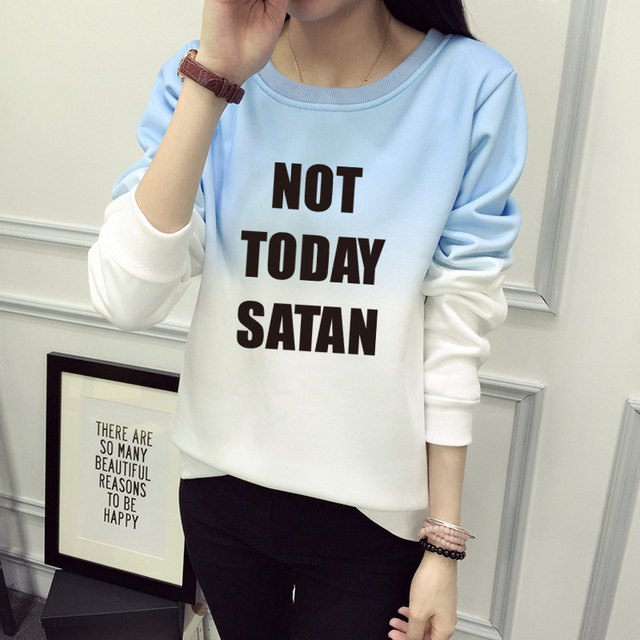 Not Today Satan RuPaul Sweatshirt Women Cotton Funny Casual Print Sweatshirt Woman Letter Pullover Hoodies Women TOPS JBW-21594