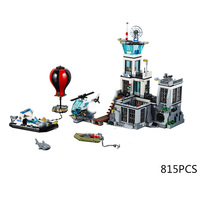 Hot City super police prison island building block policeman Shark figures helicopter speedboat fire balloon bricks 60130 toys