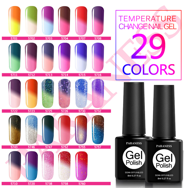 Paraness Temperature Change Color UV Gel Nail Polish Soak Off ...
