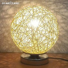 Настольная лампа для гостиной спальня Несколько цветов промышленности белье Тканые мяч Оттенок настольная лампа Диаметр 20 см abajur