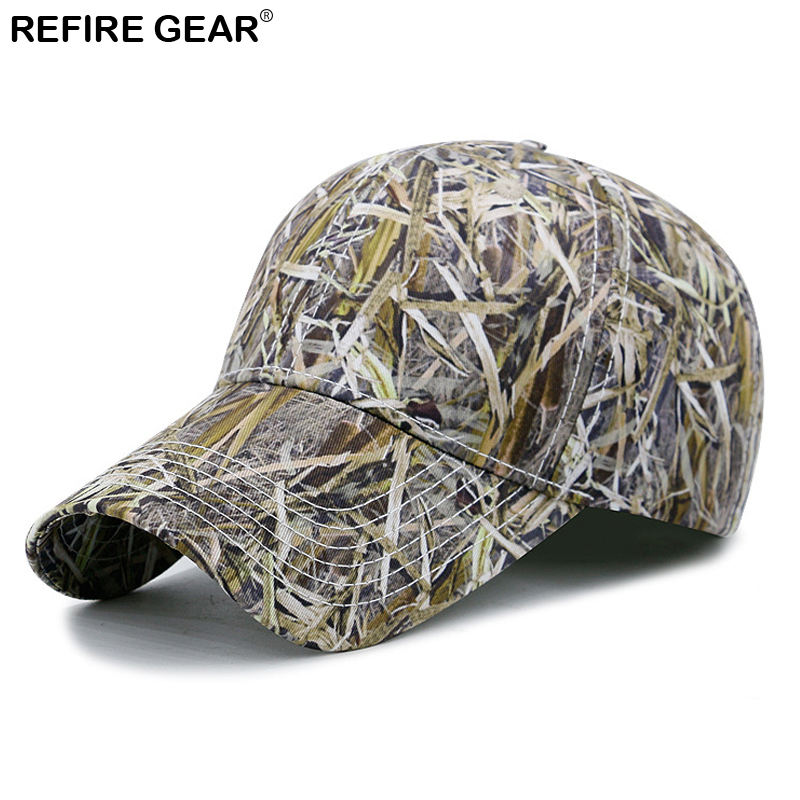 ReFire Gear Outdoor Camouflage Hiking Cap Men Summer Conceal Cap Mans Outfitter Hat Fishing Hunting Airsoft Leaves Camo Caps