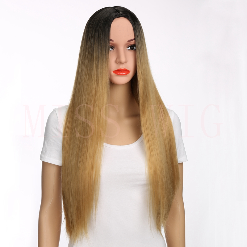 MISS WIG Long Red Blonde Synthetic Straight Wig For Women High Temperature Fiber