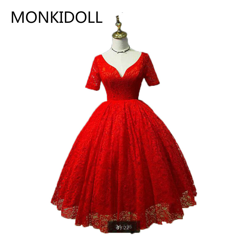 Vestido De Noiva New Arrival Red Lace Ball Gown Wedding Dress Half Sleeve Real Picture Deep V Neck Sexy Wedding Gowns