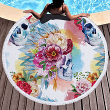 Magic Skull Printed Large Round Beach Towel Microfiber with Tassel Boho Cover Thick Blankets Serviette De Plage