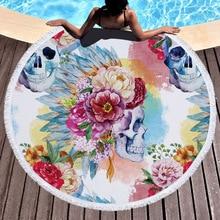 Magic Skull Printed Large Round Beach Towel Microfiber with Tassel Boho Beach Cover Thick Microfiber Blankets Serviette De Plage watermelon beach towel with microfiber tassel