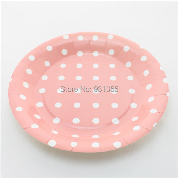 Big Promation 9  Disposable Round Peach Polka Dot Paper Plates For Birthday Party Free Shipping & Big Promation 9