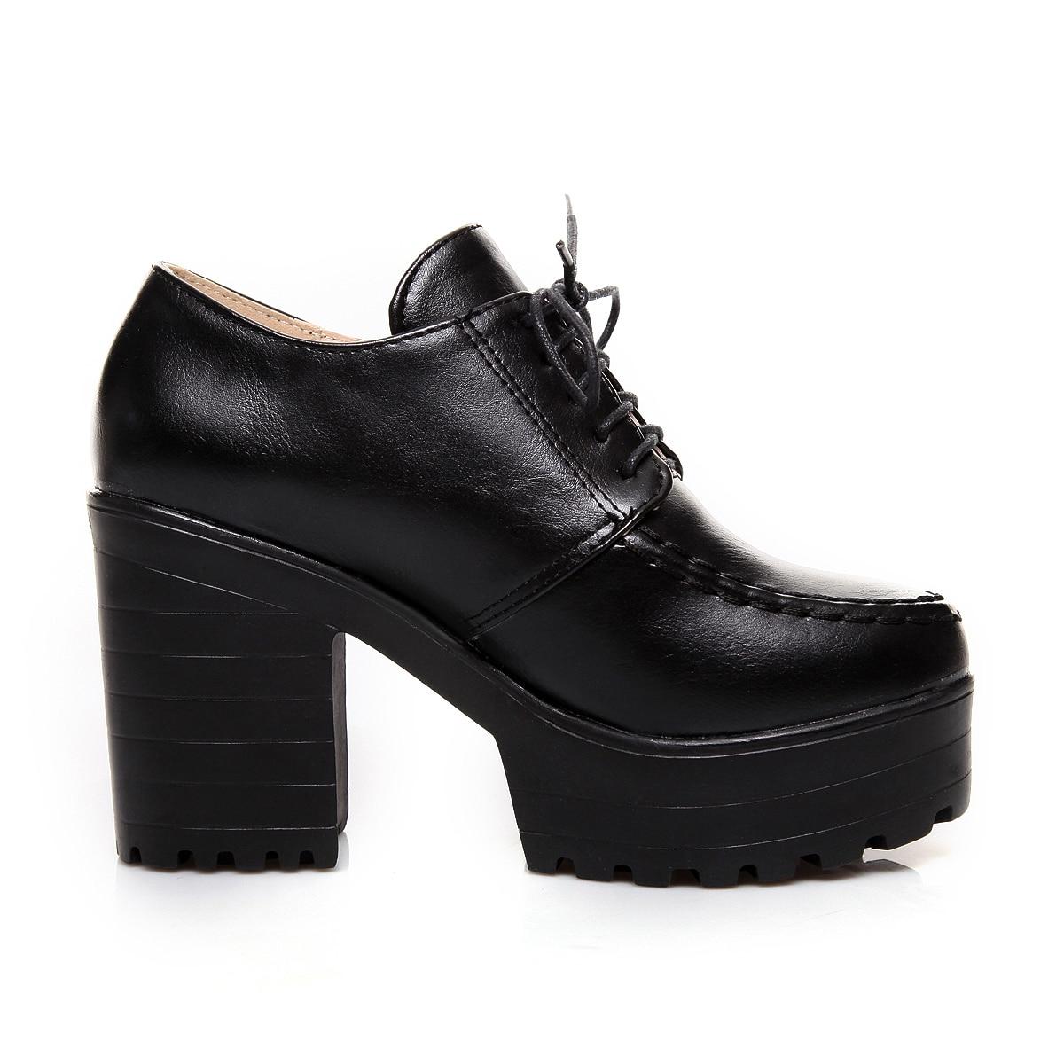 De Negro Nuevos Plataforma 2017 Con azul Mujer gris Zapatos Cordones Tacones Moda Gruesos vino Tinto Altos S4qqwEB