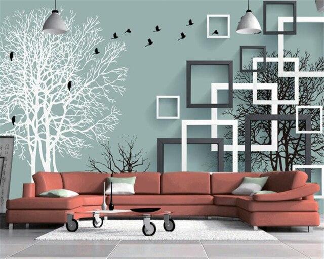 Beibehang Foto Mural Wallpaper Cubes Abstrak Hutan Flying Burung Dinding Lukisan Moderen Ruang Tamu